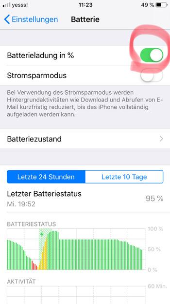 iPhone: Einstellungen – Batterie – Batterieladung in % aktivieren